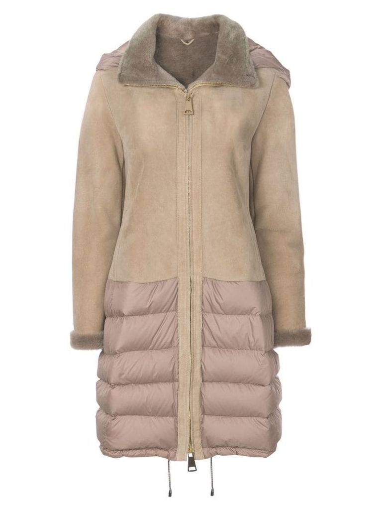 Liska zipped puffer detail coat - Neutrals