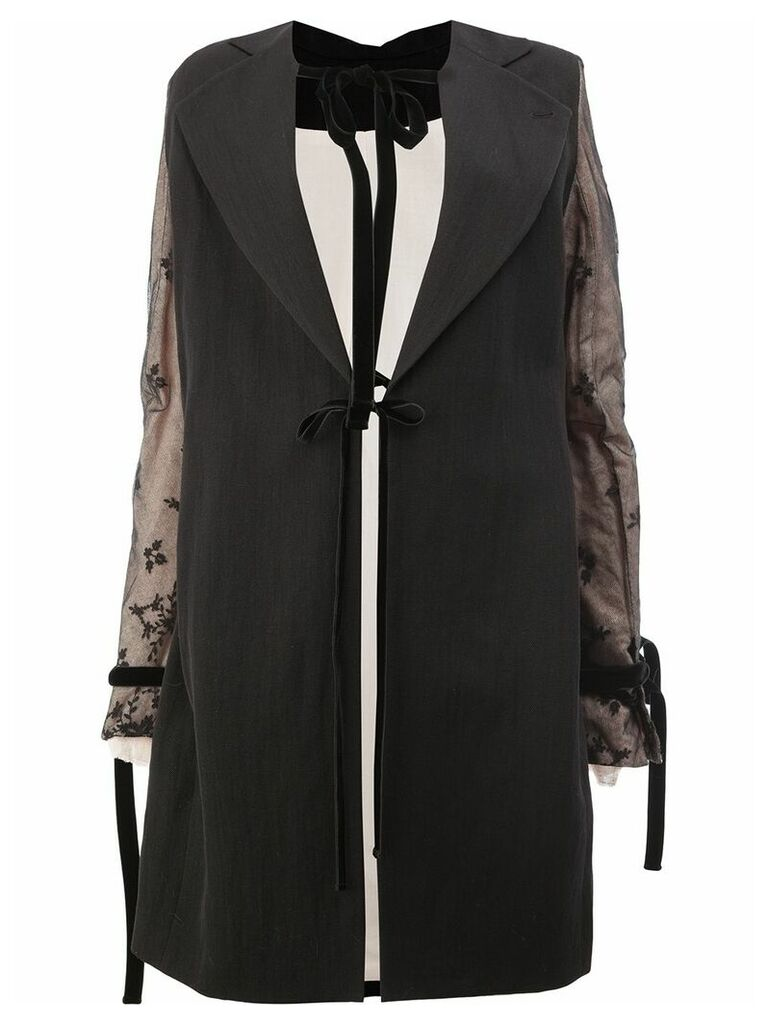 Ann Demeulemeester coat with lace detailed sleeves - Black