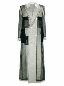 Thom Browne long patchwork coat - Grey