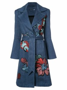 Josie Natori embroidered denim trench coat - Blue