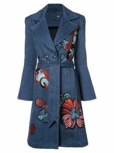 Josie Natori embroidered denim trench coat - Blue