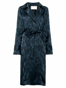 Peter Pilotto satin jacquard trench coat - Blue