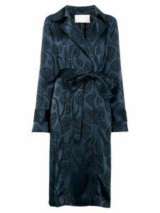 Peter Pilotto satin jacquard trench coat - Blue