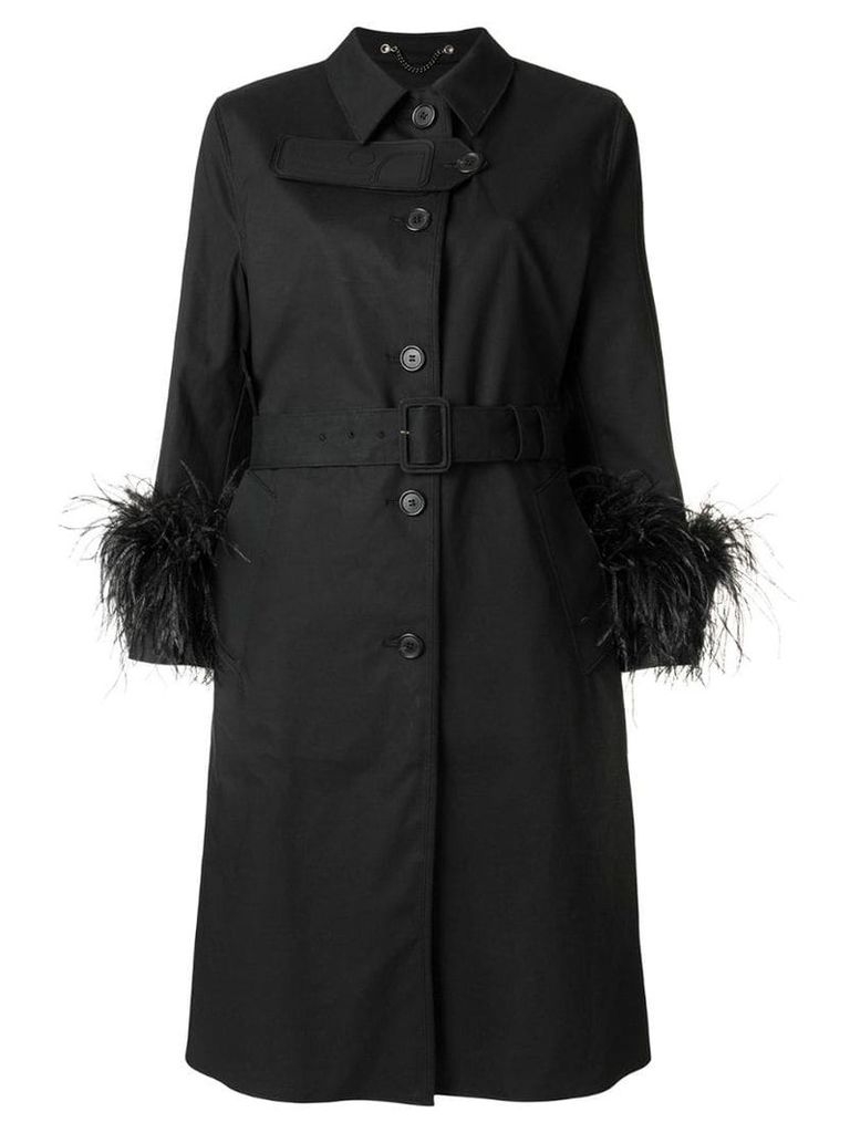Prada feather cuff trench coat - Black