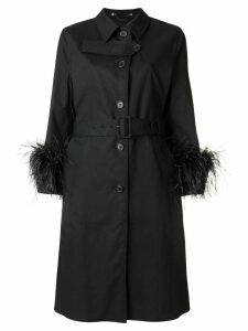 Prada feather cuff trench coat - Black