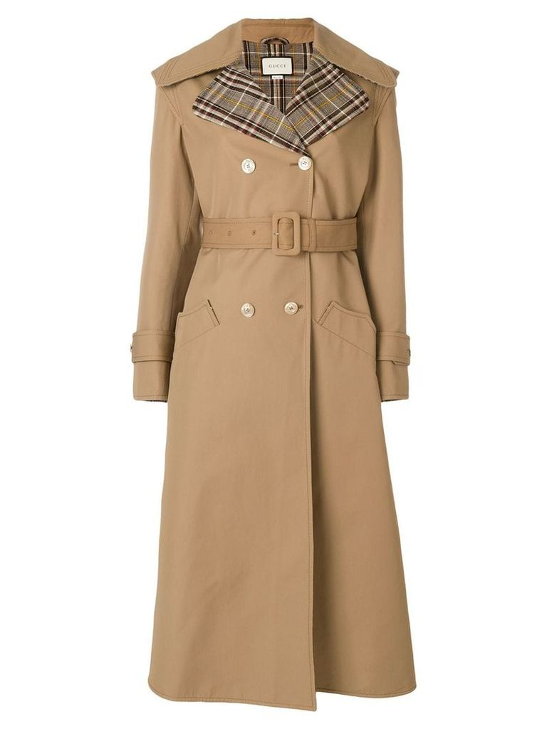 Gucci butterfly appliqué gabardine trench coat - Neutrals