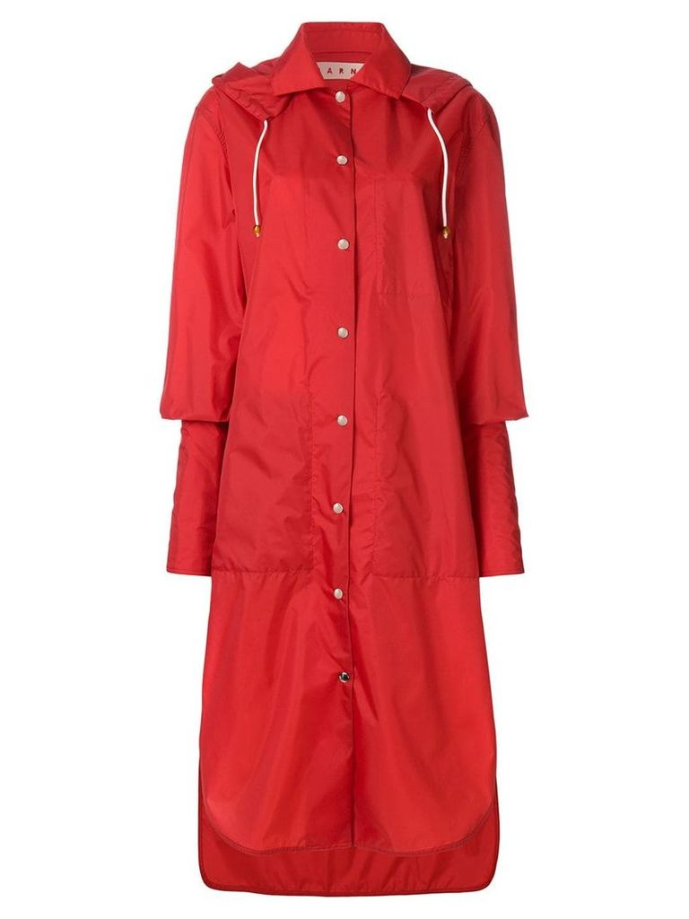 Marni extended cuff raincoat - Red