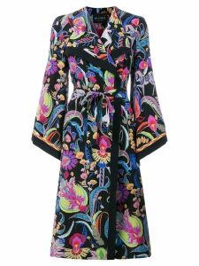 Etro long patterned trench coat - Black