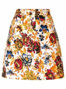 MSGM floral print denim skirt - Multicolour