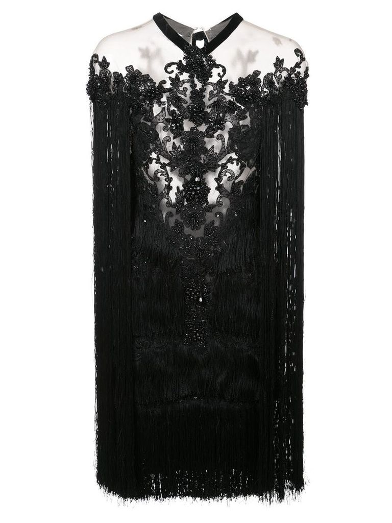 Marchesa beaded fringe mini dress - Black
