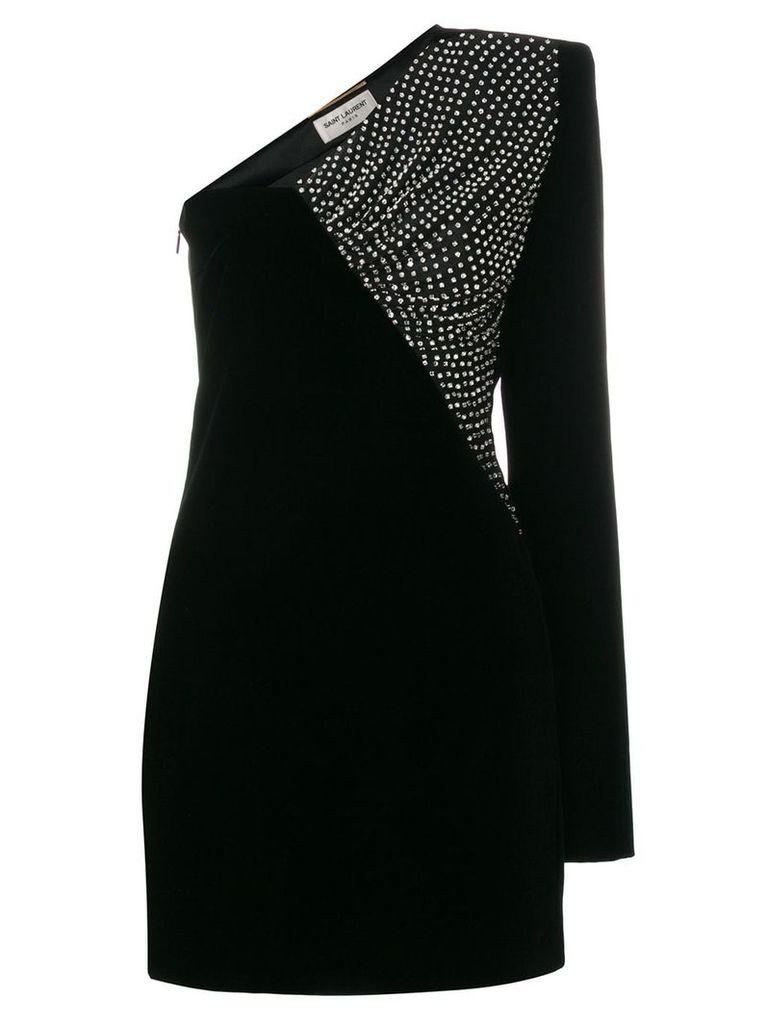 Saint Laurent velvet asymmetrical mini dress - Black