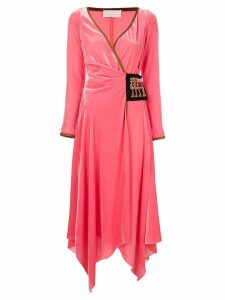 Peter Pilotto Asymmetric velvet wrap dress - Pink