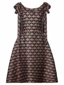 Christian Siriano shoulder bow bee print A-line dress - Black
