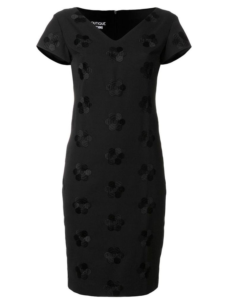 Boutique Moschino v-neck floral embroidered dress - Black