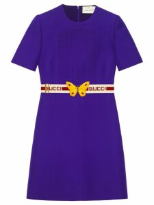 Gucci Wool silk pintuck dress with belt - Purple