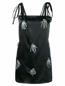 Attico satin mini dress with jellyfish appliqué - Black