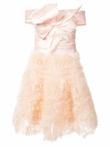 Marchesa Notte frill-embroidered dress - Pink