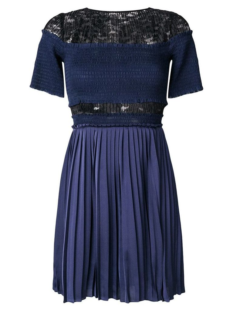 Three Floor Paris Nights pleated and ruched dress - Blue