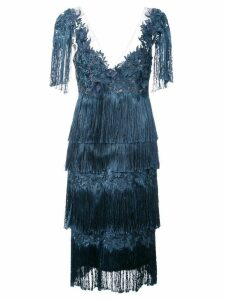 Marchesa Notte fringed dress - Blue