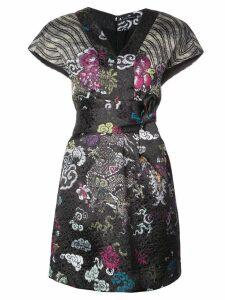 Josie Natori tie waist patterned dress - Black