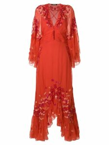 Roberto Cavalli floral embroidered frill trim maxi dress - Yellow