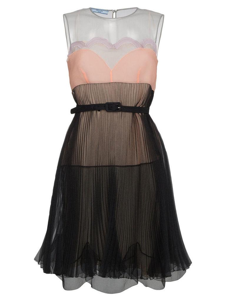 Prada silk sleeveless printed dress - Black