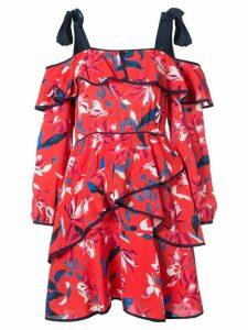 Tanya Taylor ruffled off shoulder dress - Red
