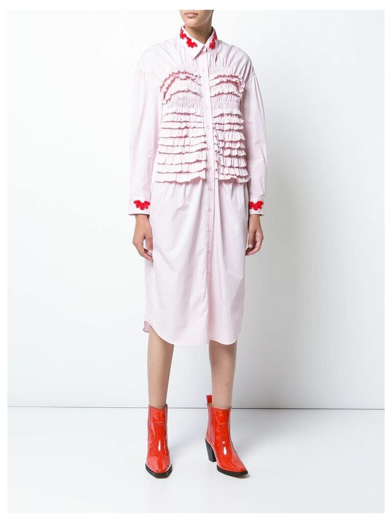 Simone Rocha frill ruched dress with beaded appliqué - Pink