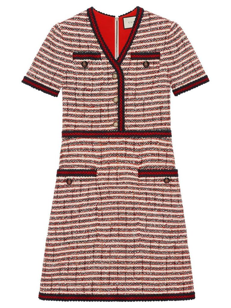Gucci Striped tweed v-neck dress - Red