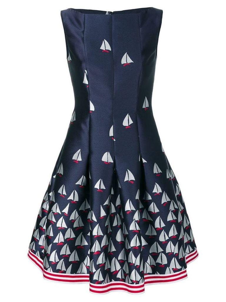 Talbot Runhof boat print flared dress - Blue