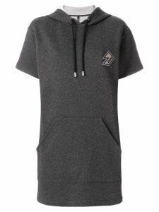 Versus logo patch hooded dress - Grey