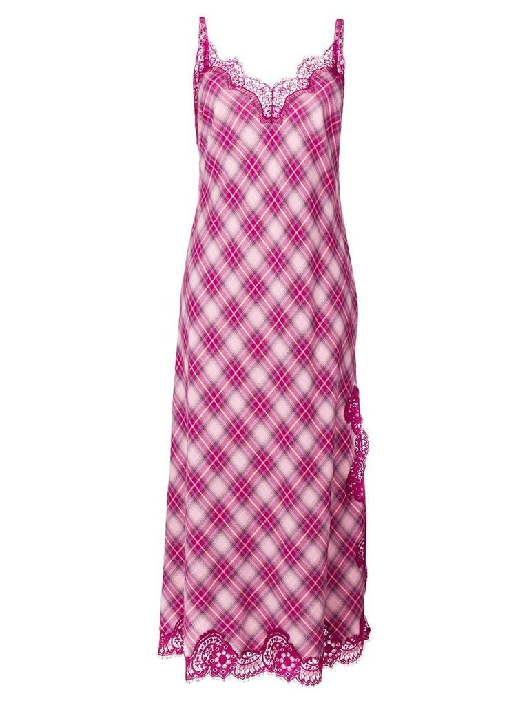 Alberta Ferretti gingham lace dress - Pink