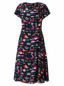 Emporio Armani sea print midi dress - Black