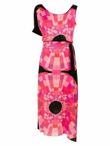 Amir Slama asymmetric printed dress - Preto