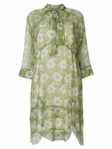 Prada floral-print tie-neck dress - Green