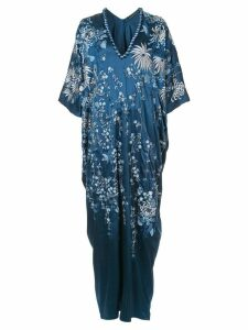 Josie Natori floral-embroidered caftan dress - Blue