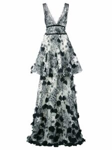 Marchesa Notte embroidered maxi dress - Black
