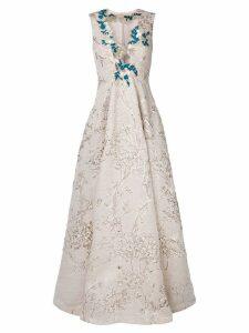 Talbot Runhof jacquard gown - Brown