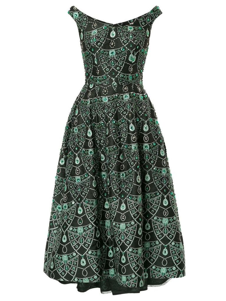 Isabel Sanchis boatneck brocade jewelled full midi dress - Black