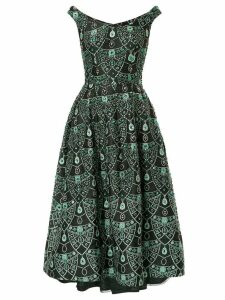 Isabel Sanchis boatneck brocade jewelled full midi dress - Black