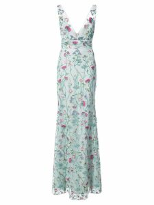 Marchesa Notte floral fitted maxi dress - Blue