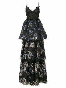Marchesa Notte layered skirt evening dress - Black