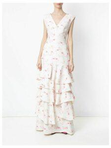 Olympiah flamingo print gown - White