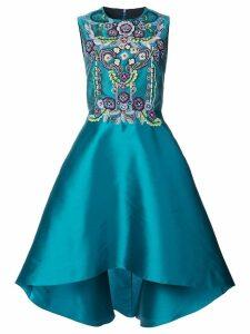 Marchesa Notte high-low embellished dress - Blue