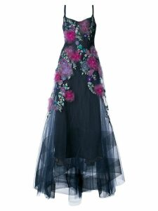 Marchesa Notte embellished floral gown - Blue