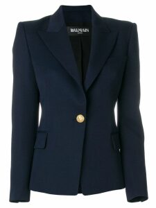 Balmain embossed button blazer - Blue