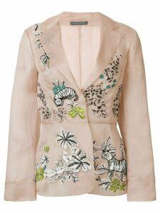 Alberta Ferretti embellished belted blazer - Pink