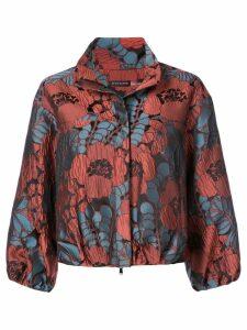 Josie Natori floral print cropped jacket - Red