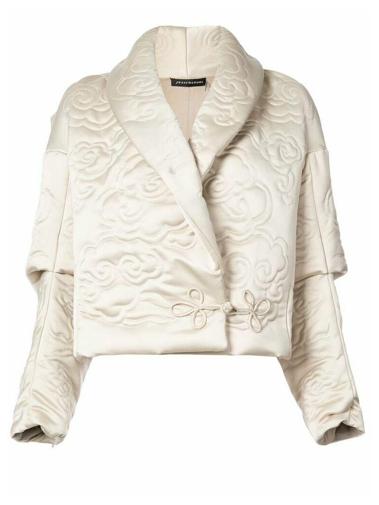 Josie Natori shawl collar embossed jacket - Neutrals