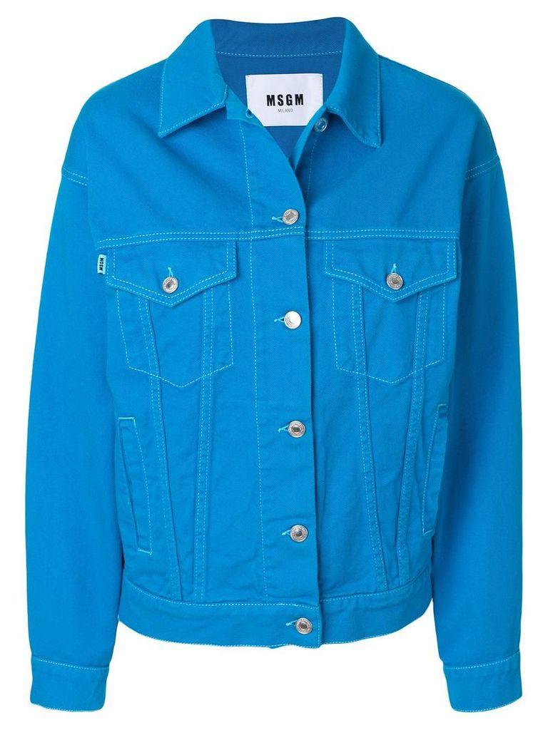 MSGM brand patch denim jacket - Blue